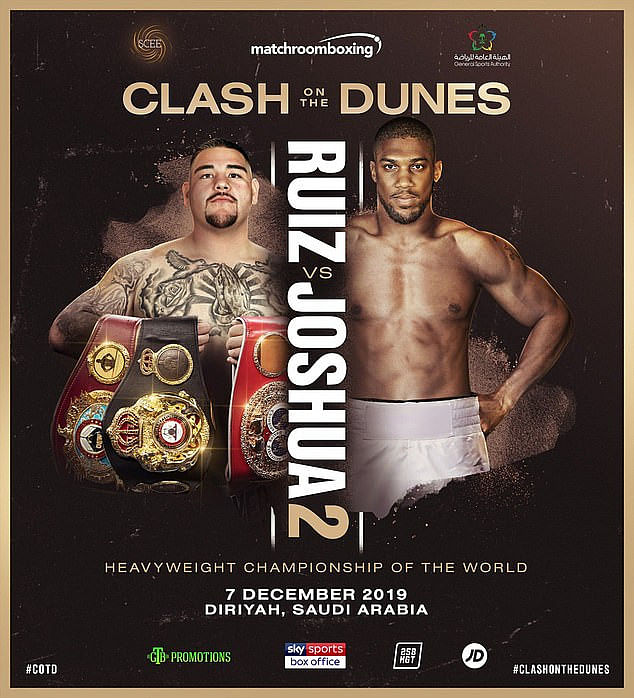 Anthony Joshua Vs Andy Ruiz Rematch To Hold In  Saudi Arabia