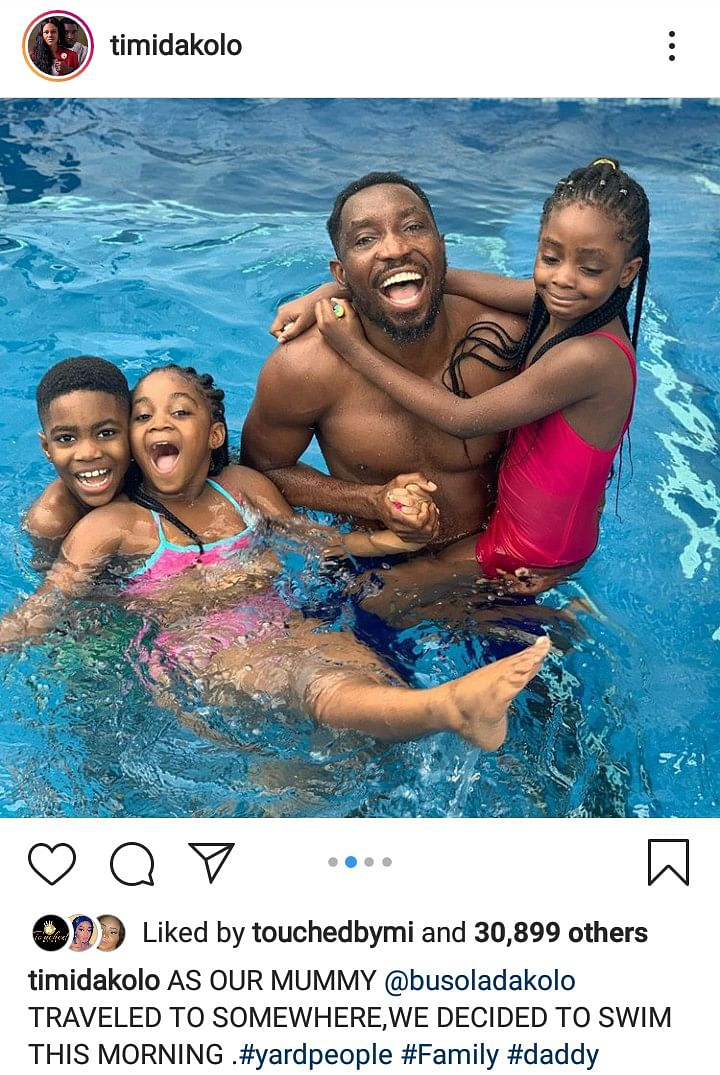 Timi Dakolo Shares Photos Of Himself And His Adorable Kids Swimming
