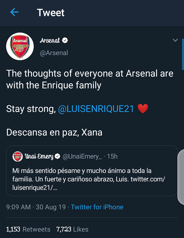 Condolences offered by Arsenal football club
