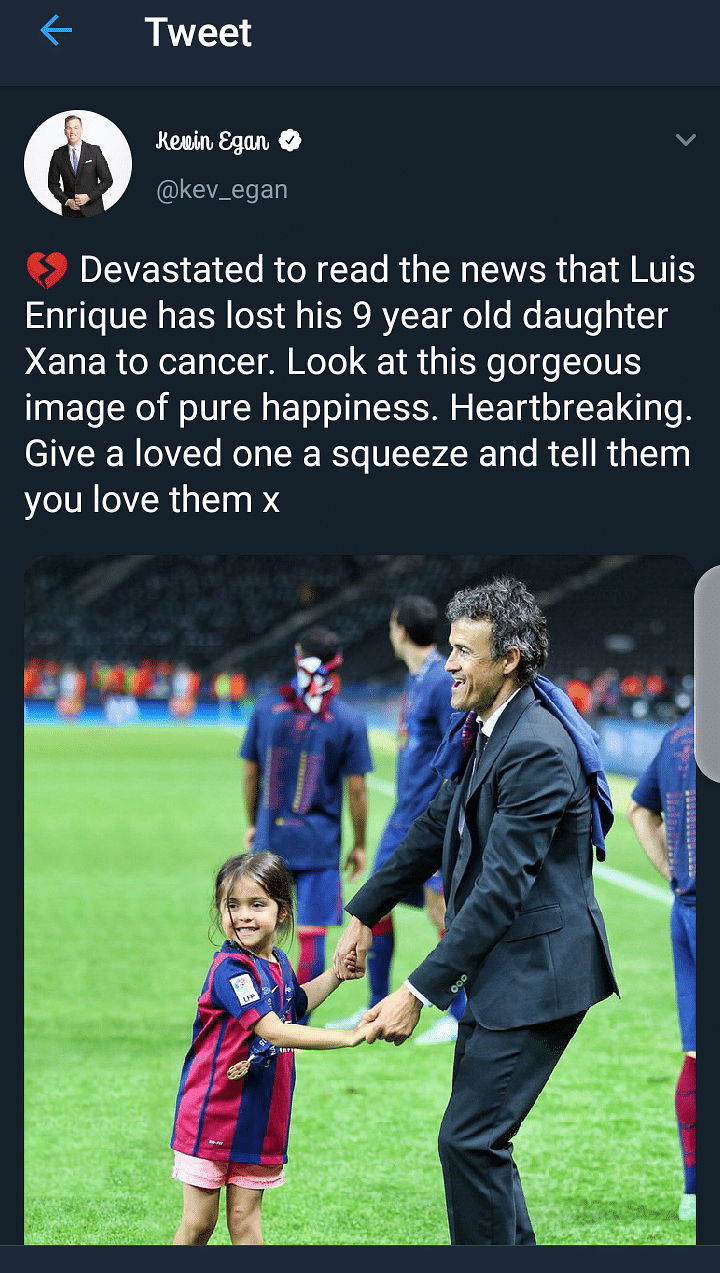 The Footballing World Mourns The Death Of Luis Enrique's Daughter, Xana