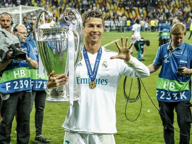 Cristiano Ronaldo winning his fourth UEFA Champions League for Real Madrid