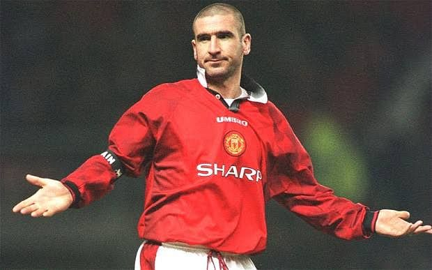 Cantona in his footballing days at Old Trafford