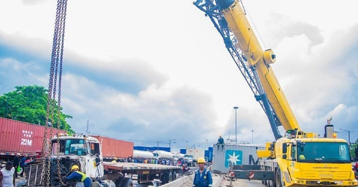 Tragedy Averted In Lagos As LRU Recovers Fallen Tanker