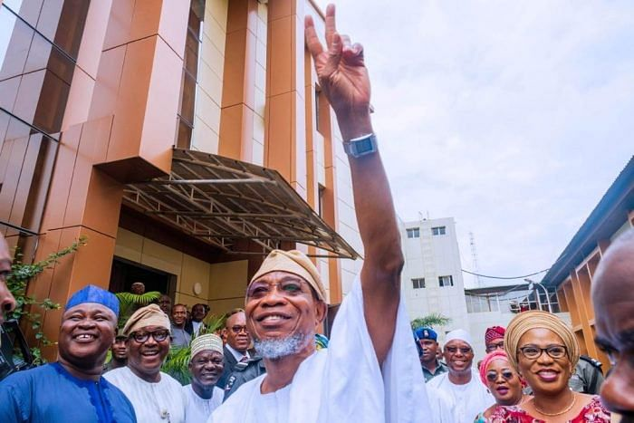 Rauf Aregbesola during his visit to the Ministry of Interior