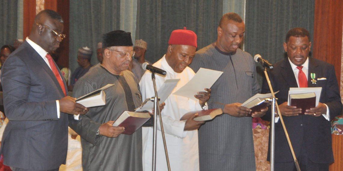 The new ministers taking oaths of office