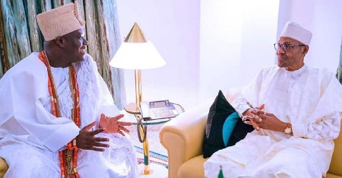 Ooni of Ife with President Muhammadu Buhari
