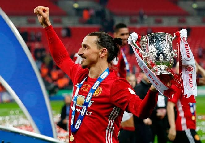 Zlatan in Manchester United colours