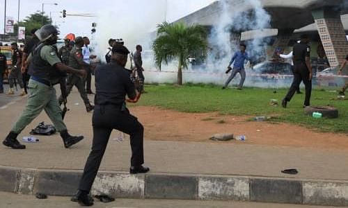 Armed Policemen Shoot At RevolutionNow Protesters In Lagos
