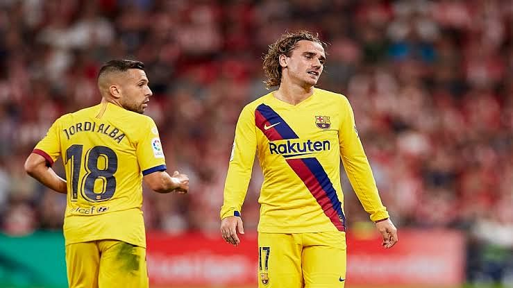 Griezmann wearing a frustrating look