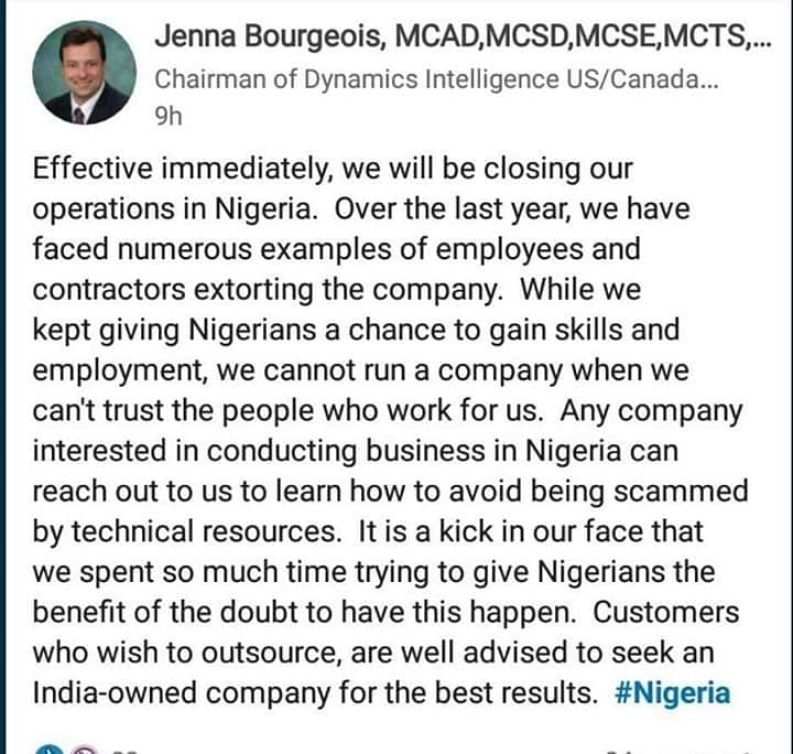 US Firm Shuts Down In Nigeria Over Alleged Extortion By Staff