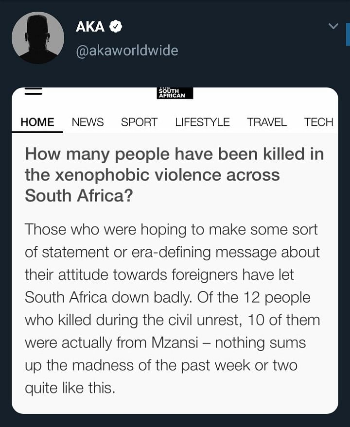 Xenophobia: 10 South Africans Dead, No Nigerian – AKA Reacts To Dead Body Count