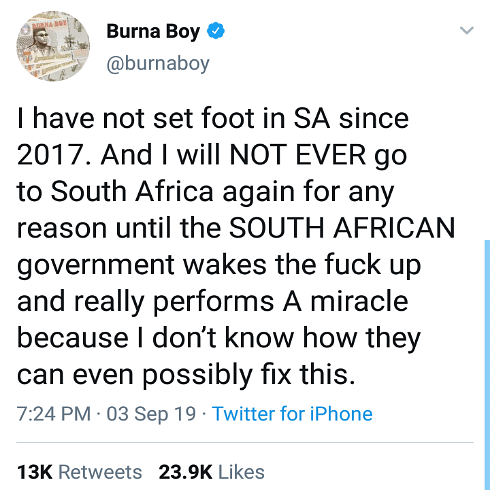 Burna Boy Speaks On Xenophobic Attacks On Nigerians By South Africa, Blasts Rapper MI For Siding With AKA