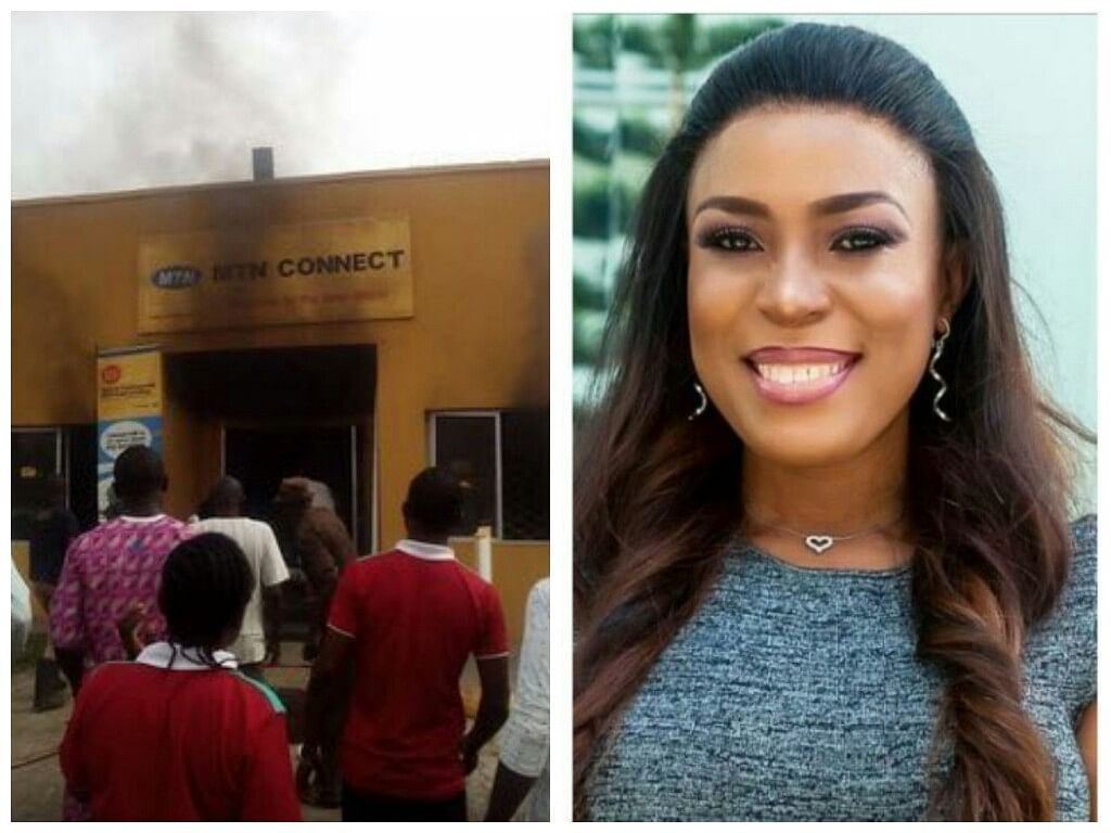 Nigerians Bash Linda Ikeji Over Fake 'Burnt MTN' Office News