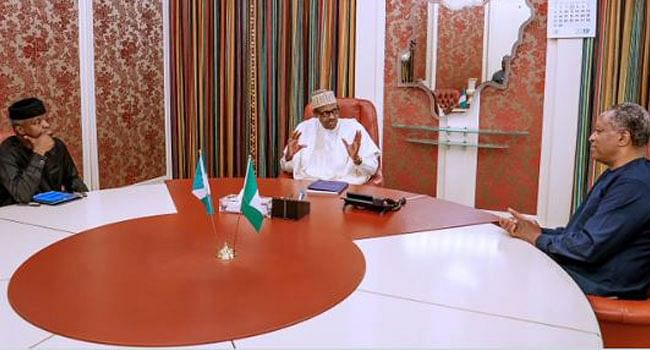 Buhari, Osinbajo and Onyeama at a meeting