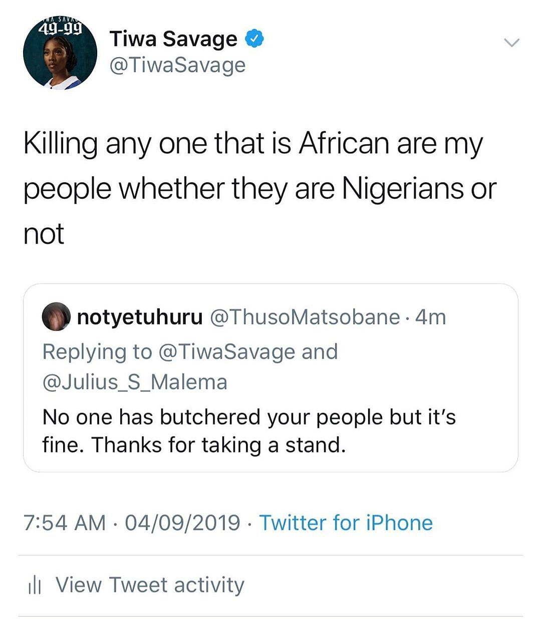 Xenophobia: Tiwa Savage Cancels Performance In South Africa