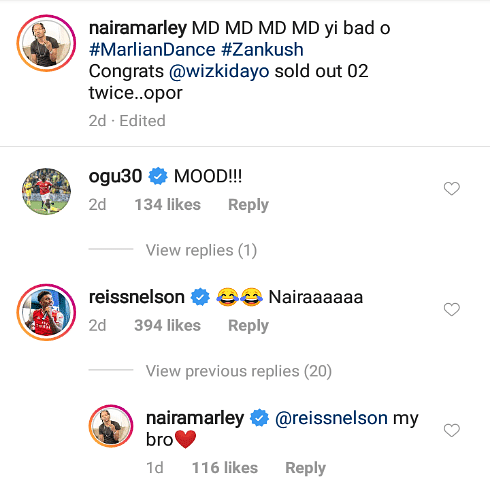Arsenal Star, Riess Nelson, Gives Naira Marley A Shout-Out On Instagram