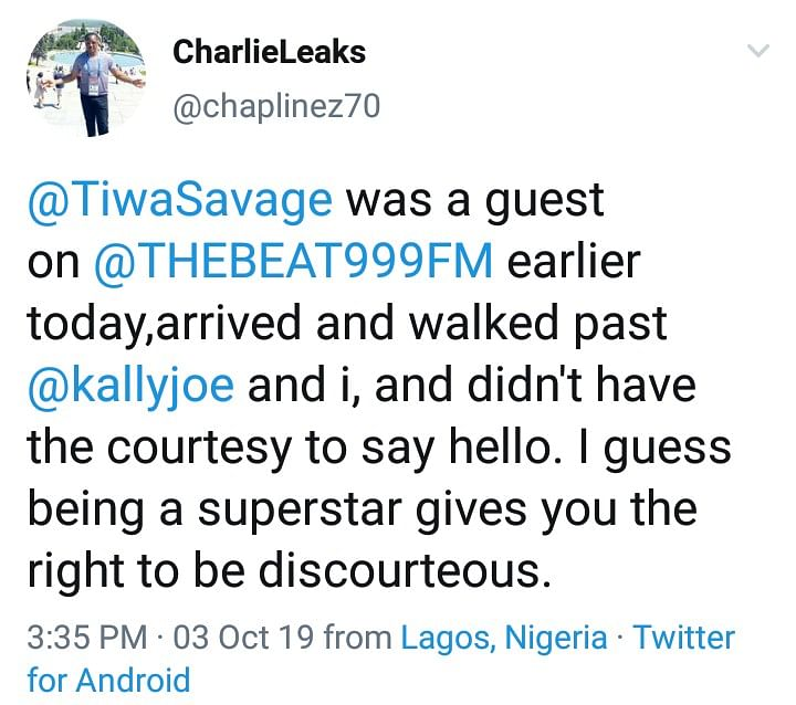 Twitter Nigeria Drags Charles Anazodo For Calling Out Tiwa Savage Over Greetings
