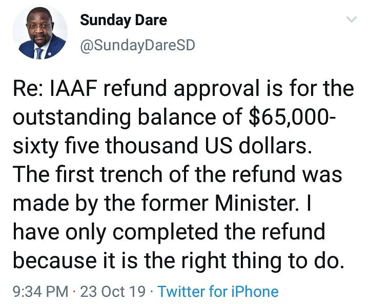 Sports Minister, Sunday Dare, Approves Refund Of N23M To IAAF To Complete Debt Owed By Nigeria