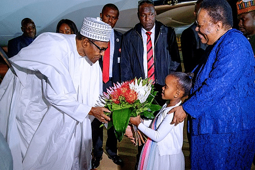 Buhari being welcomed to Pretoria, South Africa