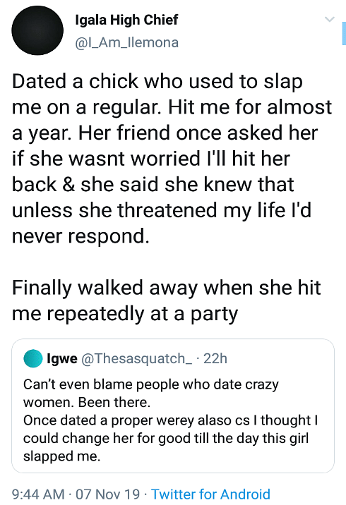 Nigerian Man Recounts How He Left An Abusive Relationship