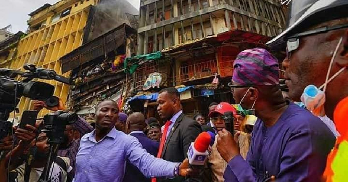Sanwo-Olu Visits Scene Of Fire Incident At Balogun Market