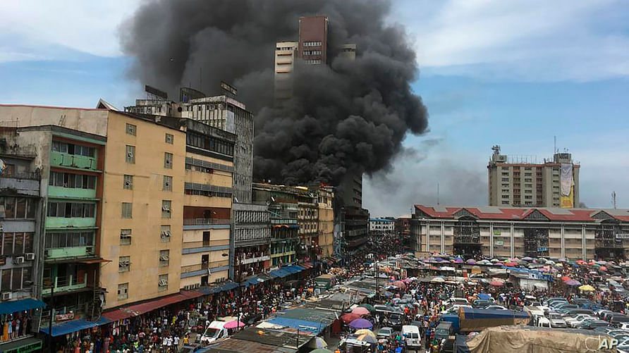 Fire Guts Section Of Balogun Market In Lagos Island