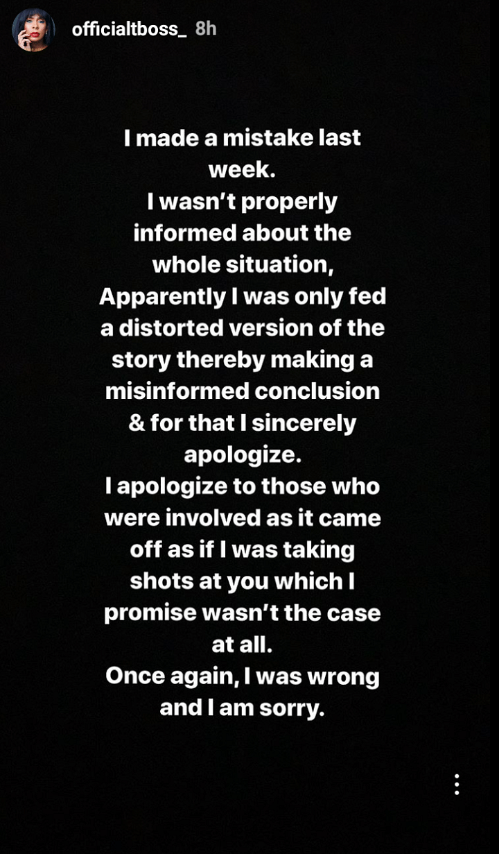 TBoss Apologises To Davido After He Insulted Her