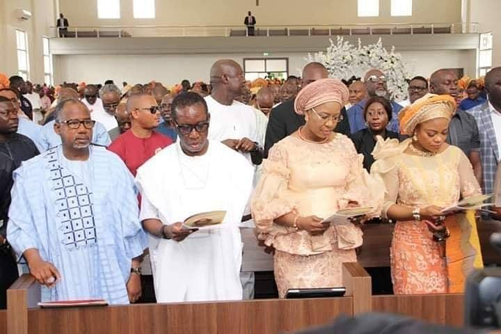 Governor Okowa, wife and others at the wedding