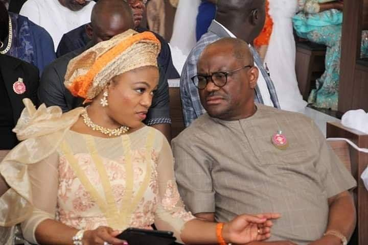 Governor Wike and wife at the wedding