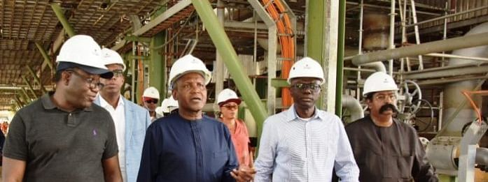Fayemi, Dangote, Sanwo-Olu at the facility