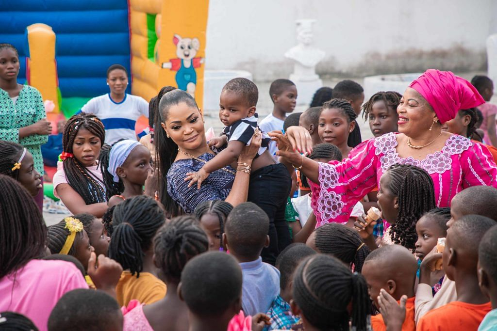 Olori with the kids