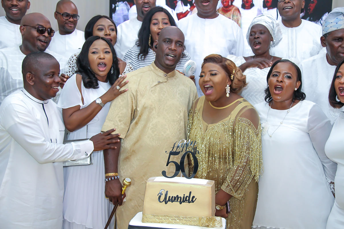 Celebrant, wife and guests