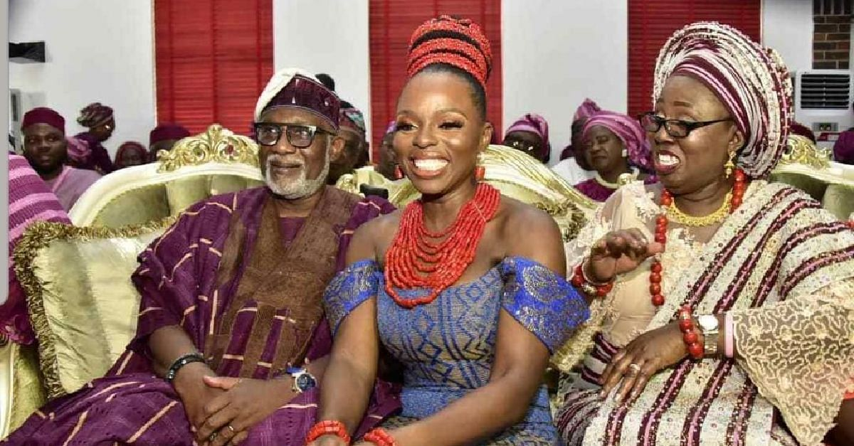 Akeredolu, wife and daughter during the wedding ceremony