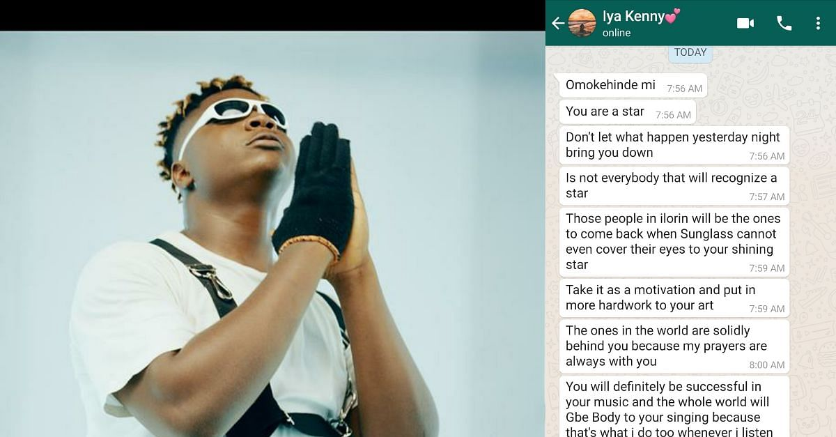 Singer Shares Messages His Mum Sent After He Was Snubbed At An Event