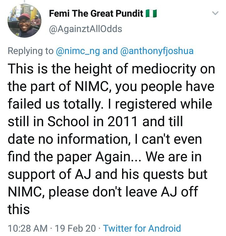 Nigerians React To Anthony Joshua's National ID Card Enrollment