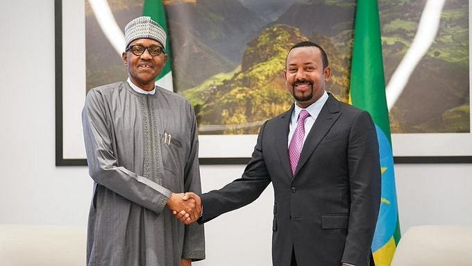 President Muhammadu Buhari and the Prime Minister of Ethiopia, Abiy Ahmed