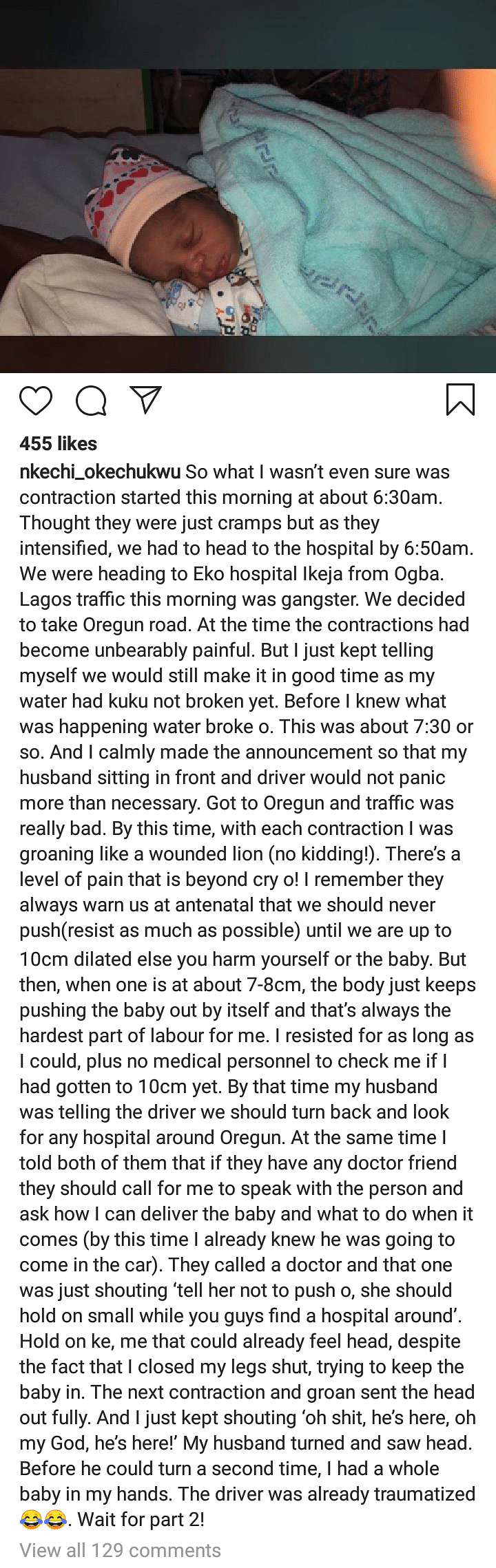 Lady Who Gave Birth In Lagos Traffic On Monday Narrates Her Story