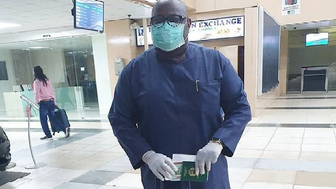 Dele Momodu Travels In Full Protective Gear In Fear Of Coronavirus