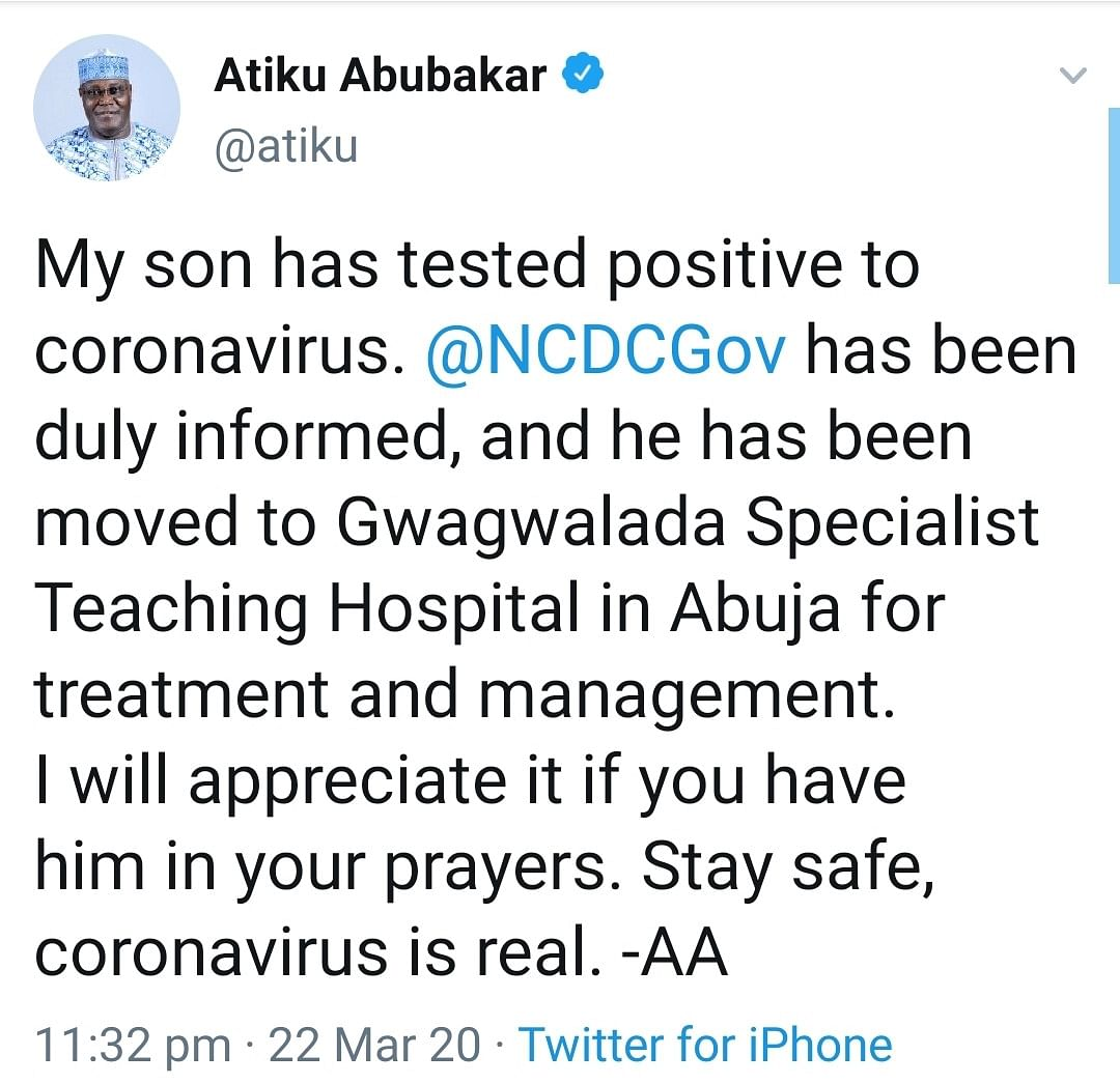 Atiku Abubakar Confirms His Son Tested Positive For Coronavirus