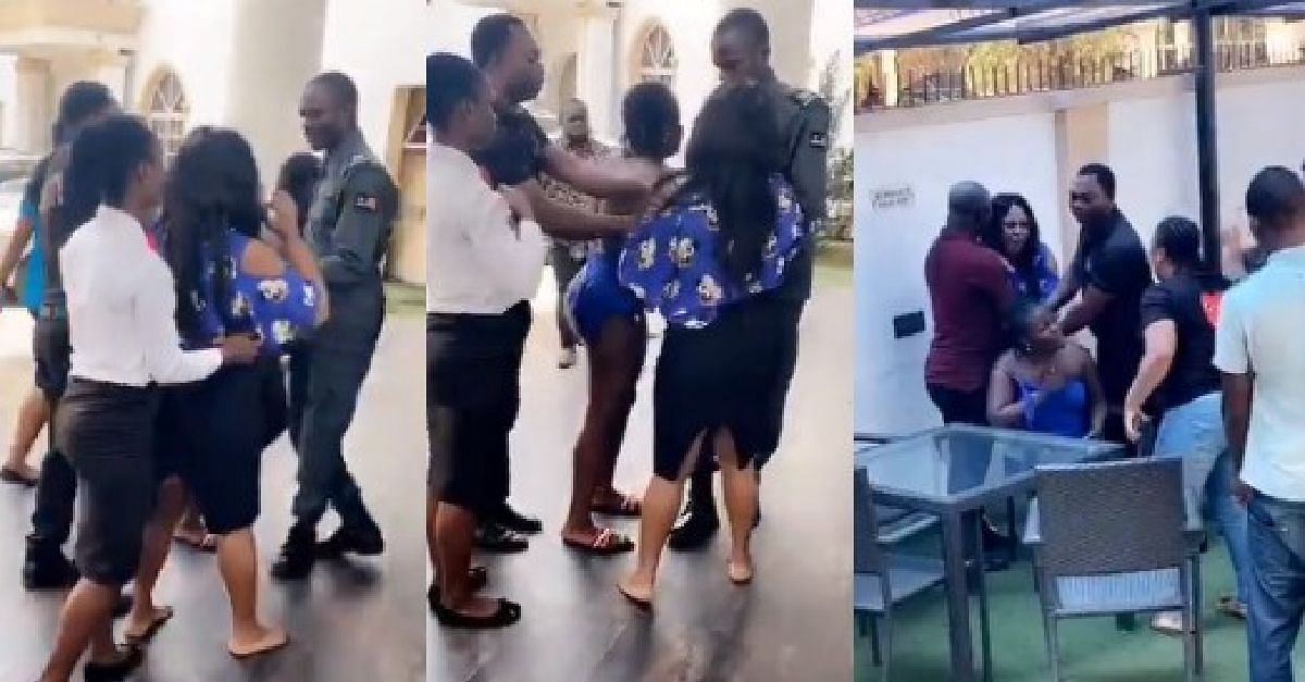 Nigerian Lady Confronts Her Husband's Side Chick At A Hotel In Benin