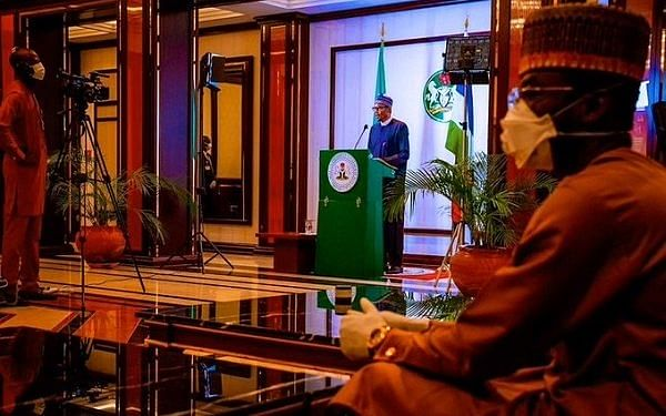 Buhari during a live broadcast