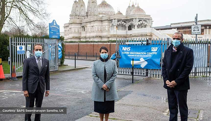 Priti Patel visits Neasden Temple's 'heroic' new Covid vaccine hub