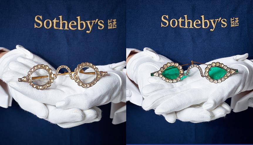 Indian spectacles framed in diamonds, emeralds on London auction circuit