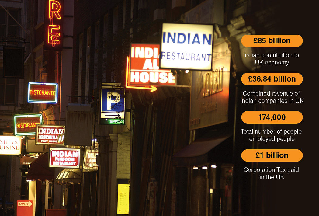 A row of Indian restaurants in the UK. The British have adopted certain Indian dishes to their palate, the curry being the most popular among them.