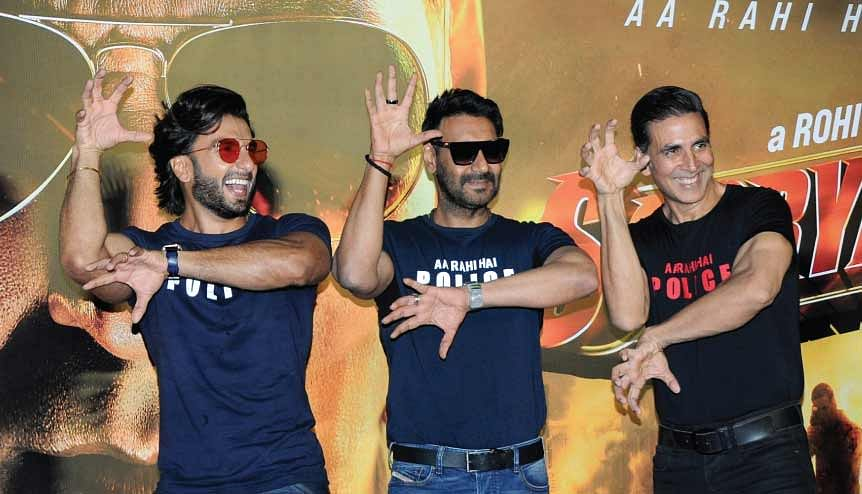 Bollywood actor Ranveer Singh, Akshay Kumar, and Ajay Devgan pose for a photo during the trailer launch of the upcoming film 'Sooryavanshi'. Indian cinema has become the best cultural ambassador of brand India.