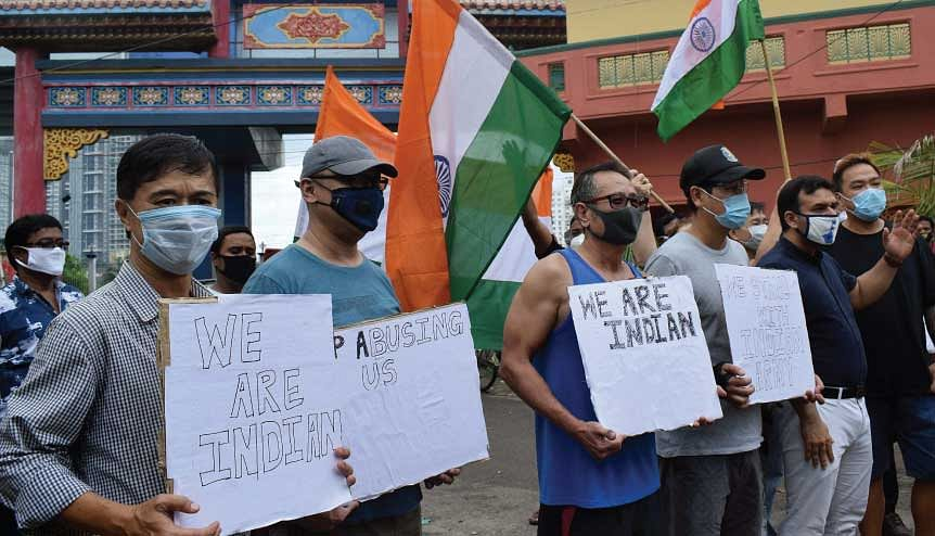 Chinese citizens in India protest against China′s unilateral actions in the Galwan valley.