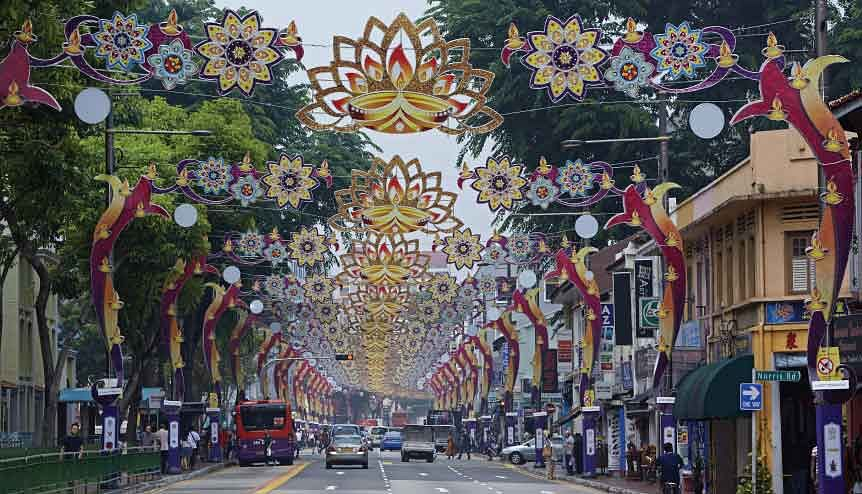 Ornate archways of Serangon Road in the Little India district of Singapore.