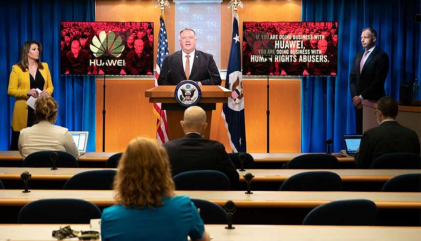 US Secretary of State Mike Pompeo took fresh aim at China, saying the United States would impose visa restrictions on Chinese firms like Huawei Technologies. The US action also affects Huawei products used in the UK's full fibre broadband networks