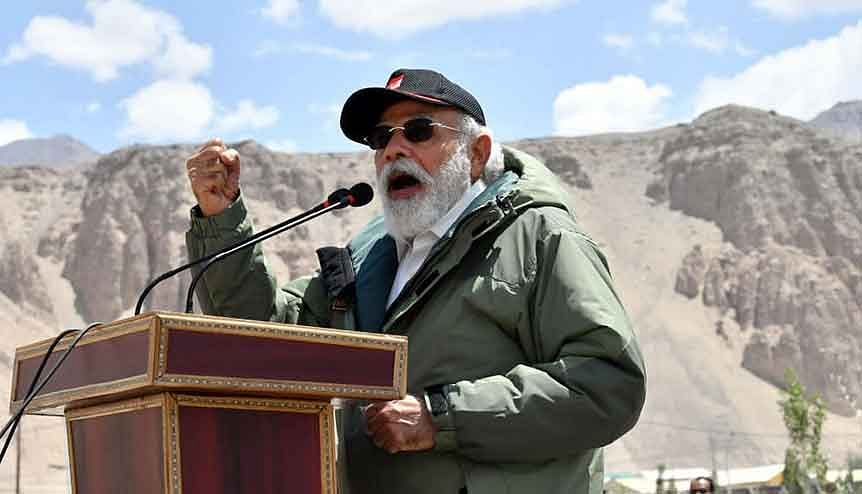 Prime Minister Narendra Modi addressed soldiers during his surprise visit to Ladakh, at Nimmoo in Leh on Friday, to boost the morale of the Indian army.