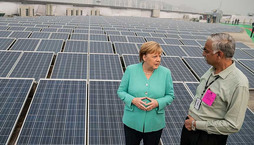 Chancellor Angela Merkel (CDU), visiting the solar-powered metro station Dwarka Sector 21 during her visit to India in November 2019. Under the leadership of PM Modi, India is increasingly focusing on green energy.